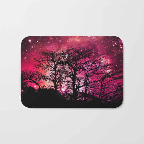 Black Trees Coral Pink Space Bath Mat