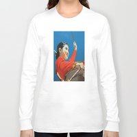 korean Long Sleeve T-shirts featuring Korean Drummer Girl by Robert S. Lee Art