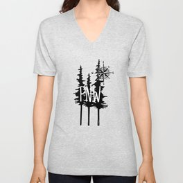 PNW Trees & Compass Unisex V-Neck