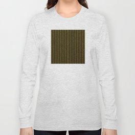 Art Deco Gold-Glitter Vertical Lines on Black Velvet Long Sleeve T-shirt