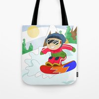snowboarding Tote Bags featuring Winter Sports: Snowboarding by Alapapaju