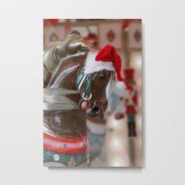 Santa Horse 6 - Retro Metal Print