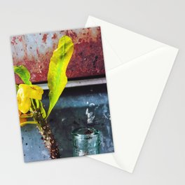 yellow euphorbia milii plant with old lusty metal background Stationery Cards