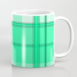 Shades of Light Green and Gray Plaid Coffee Mug