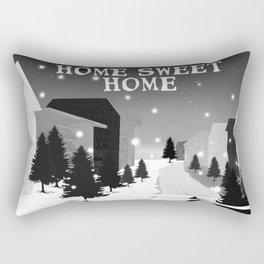 Hot Air Balloon Home Sweet Home snowy little town night stars and moon home decor Christmas spirit Rectangular Pillow
