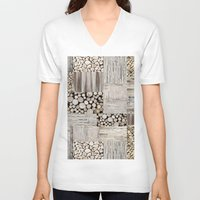wood V-neck T-shirts featuring Wood by LebensART
