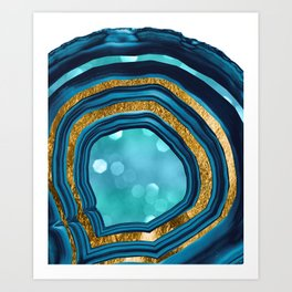 Agate Aqua Blue Gold #1 #abstract #shiny #decor #art #society6 Kunstdrucke