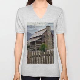 Appalachian Mountain Cabin Unisex V-Neck