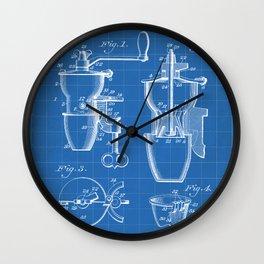 Coffee Mill Patent - Coffee Shop Art - Blueprint Wall Clock