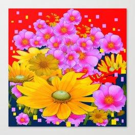 RAZZLE-DAZZLE FLORALS IN RED-TEAL COLOR Canvas Print