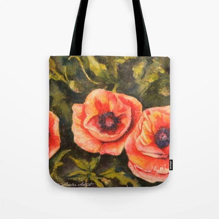 Poppies Sunlit Blooms Watercolor Tote Bag