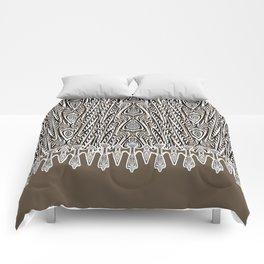 Dark Coffee Macramé Arrowhead Lace Pattern Comforters