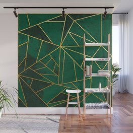 Emerald Green Geometric Gold Lines Wall Mural