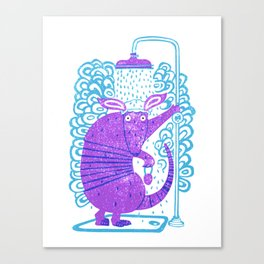 Armadillo shower time Canvas Print