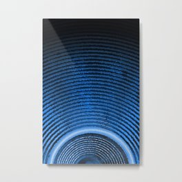 Blue music speaker and sound waves Metal Print