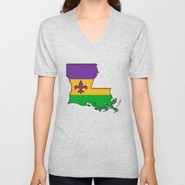 Louisiana Mardi Gras Love! Unisex V-Neck