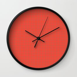 Red Orange Check Pattern Wall Clock