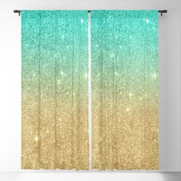 Aqua teal abstract gold ombre glitter Blackout Curtain