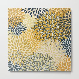 Floral Prints, Abstract Art, Navy Blue and Mustard Yellow, Coloured Prints Metal Print