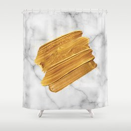 Gold on Marble Shower Curtain