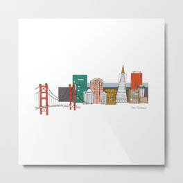 San Francisco Skyline Illustration Metal Print