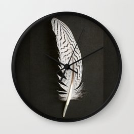 Silver Pheasant Feathers Wall Clock