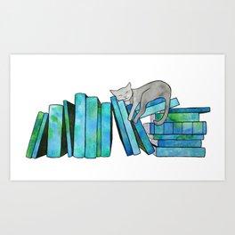 Literary Naps Blue Art Print