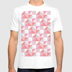 Peach Geometric; MEDIUM White Mens Fitted Tee