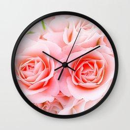Romantic Pink Roses Wall Clock