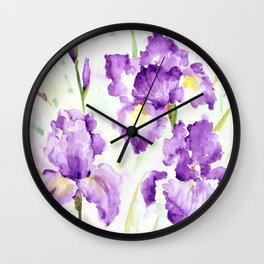 Watercolor Blue Iris Flowers Wall Clock