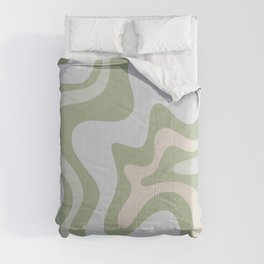 Liquid Swirl Contemporary Abstract Pattern in Light Sage Green Comforters