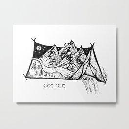 """Get Out"" Adirondacks Mountains, Camping Tent, Outdoors Nature Art, Adirondack Decor Metal Print"