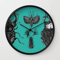 insects Wall Clocks featuring Insects by Rebexi