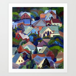Rooftops of Provincetown, Cape Cod, Massachusetts, from original oil painting by Pamela Parsons Art Print