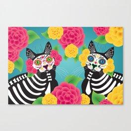 Gatos Dia de los Muertos Canvas Print