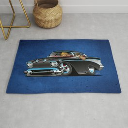 Classic hot rod fifties muscle car with cool couple cartoon Rug