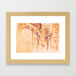 Colorful watercolor painting with classical building detail Framed Art Print