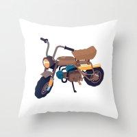 honda Throw Pillows featuring #1 honda z50 by Brownjames Prints