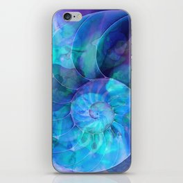 Blue Nautilus Shell  - Seashell Art By Sharon Cummings iPhone Skin