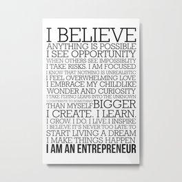 Entrepreneur Manifesto Metal Print