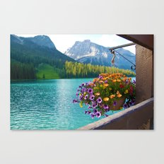 Floral basket, mountain and blue lake Canvas Print