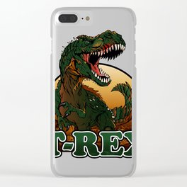 Agressive t rex illustration Clear iPhone Case