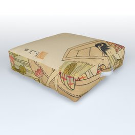 Women Gathering Lotus Blossoms Outdoor Floor Cushion