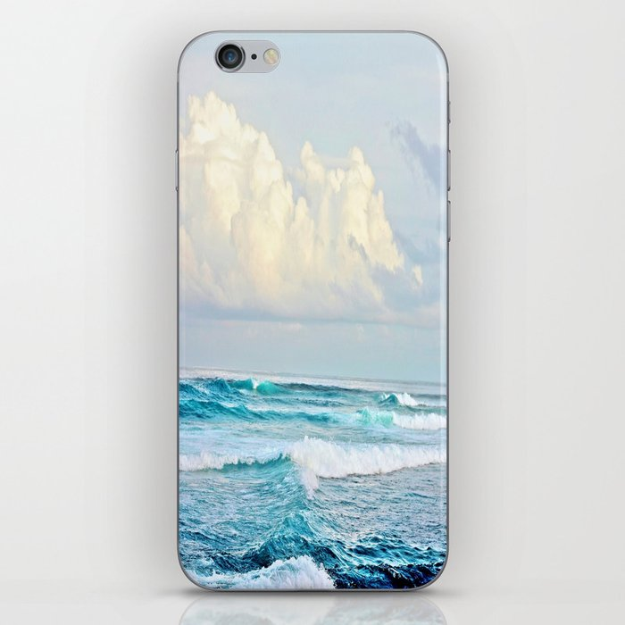 Blue Water Fluffy Clouds iPhone Skin