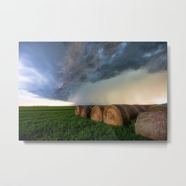 Time to Bale - Storm Over Rows of Round Hay Bales in Kansas Metal Print