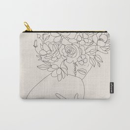 Woman with Flowers Minimal Line III Carry-All Pouch
