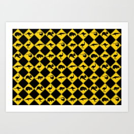 Australian Animals Road Warning Signs Art Print