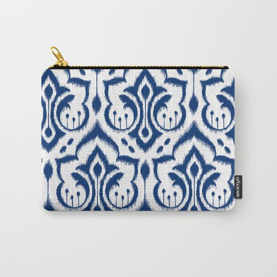 Ikat Damask Navy Carry-All Pouch