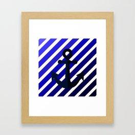 Anchor on blue lines Framed Art Print