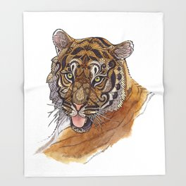 Immature Tiger Throw Blanket